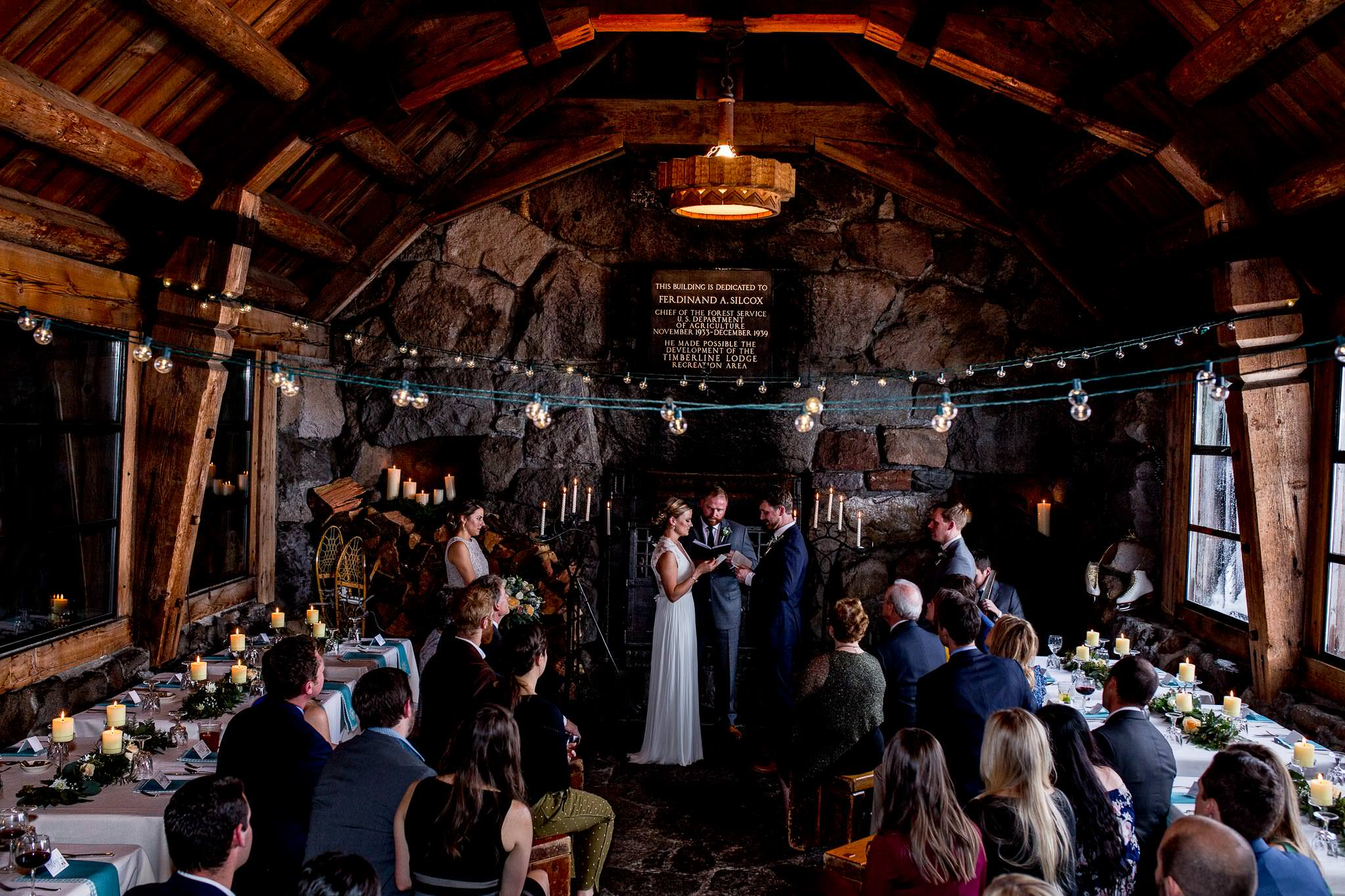 Bride and Groom atop Mt Hood at Timberline Lodge