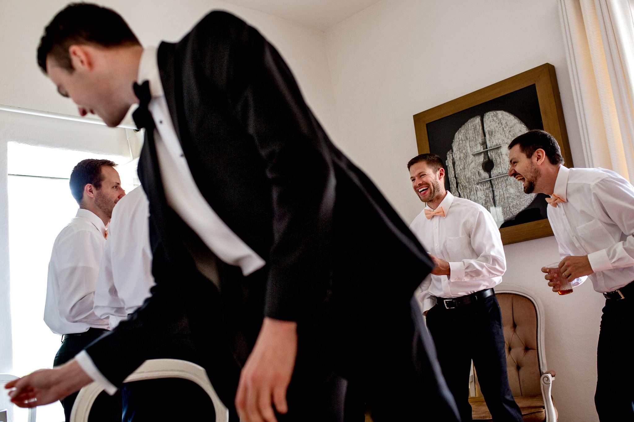 Groomsmen getting ready in Cirque de Navacelles outside Montpellier France