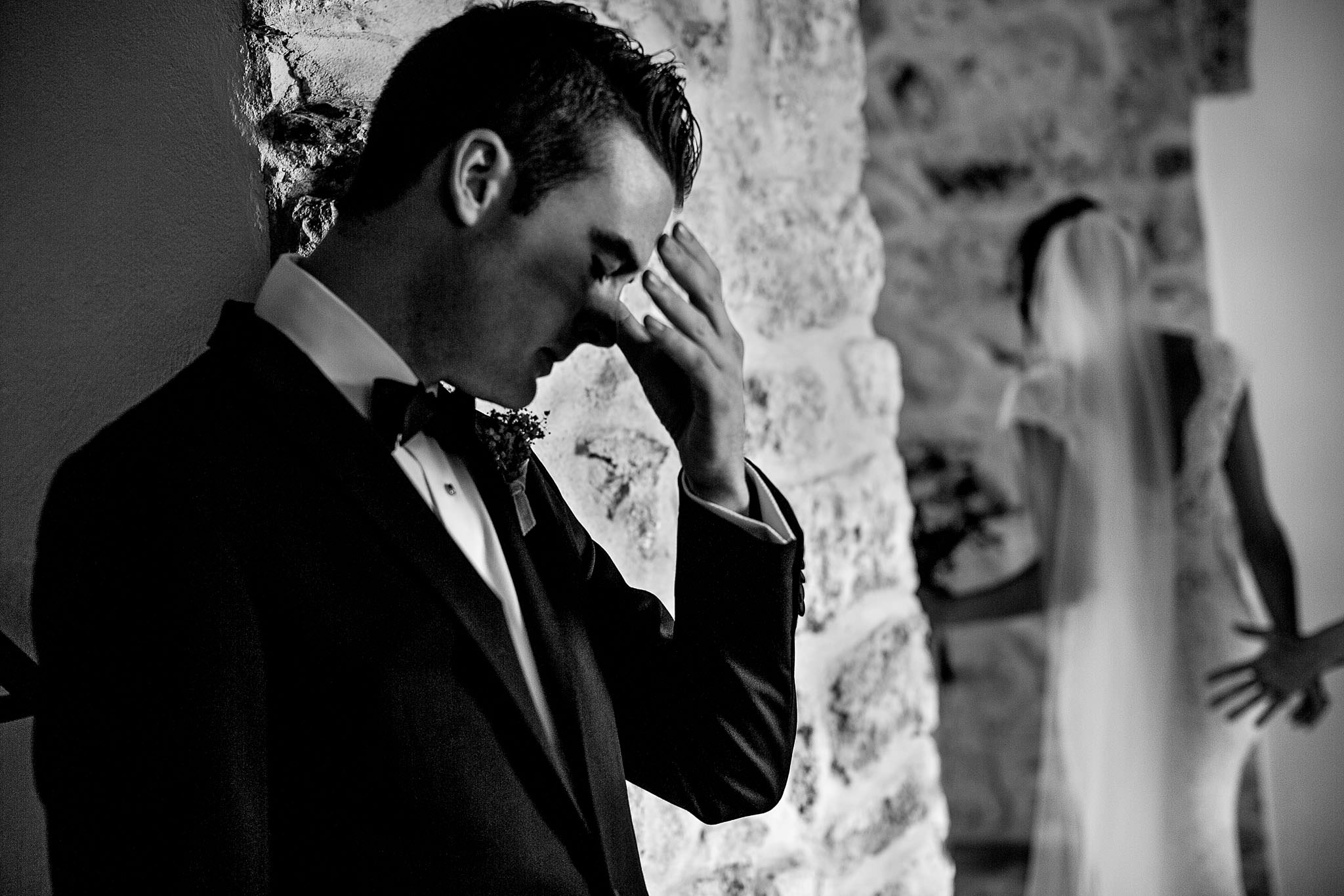 Emotional groom in Cirque de Navacelles outside Montpellier France