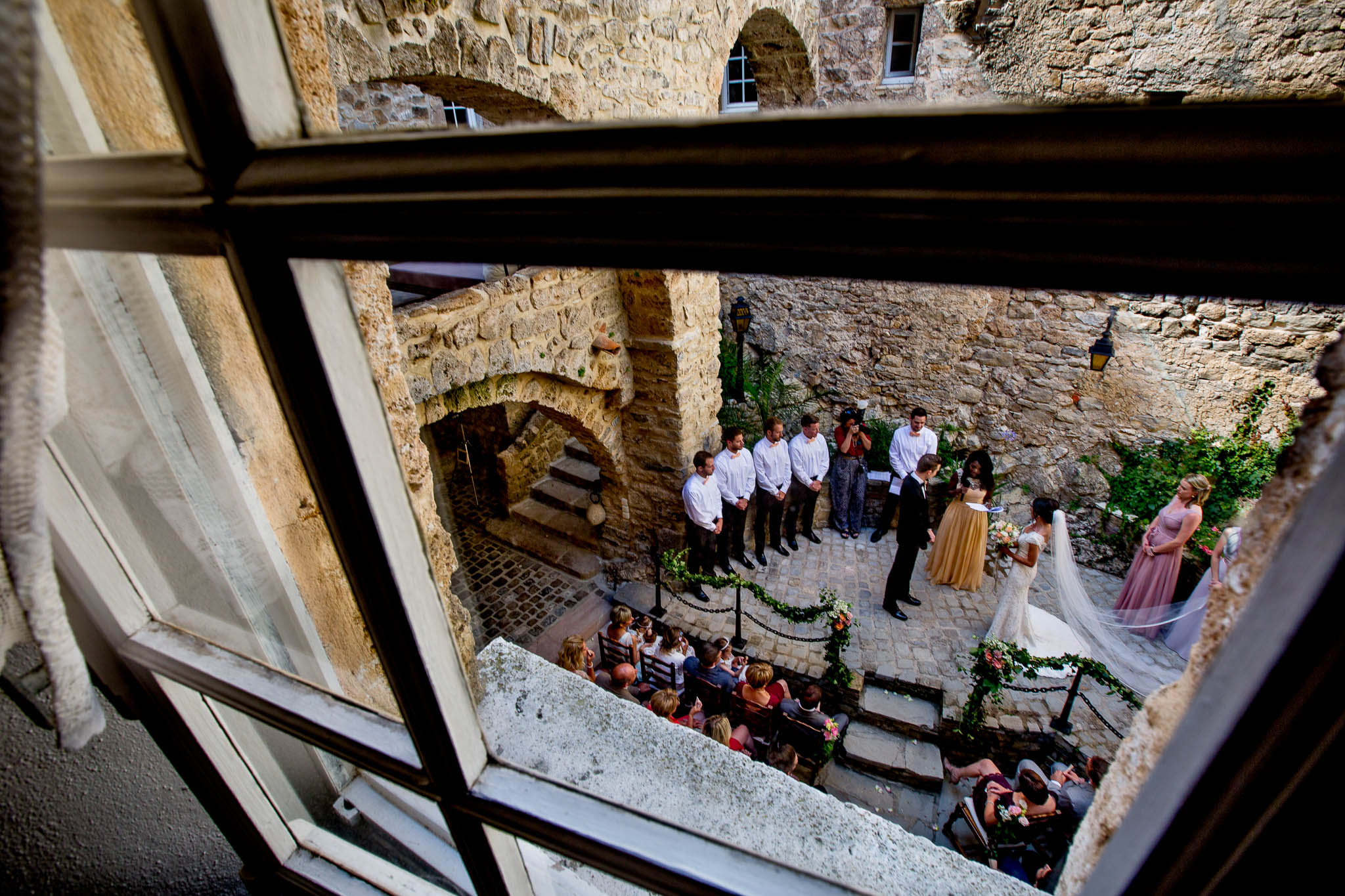 View of wedding ceremony in Cirque de Navacelles outside Montpellier France