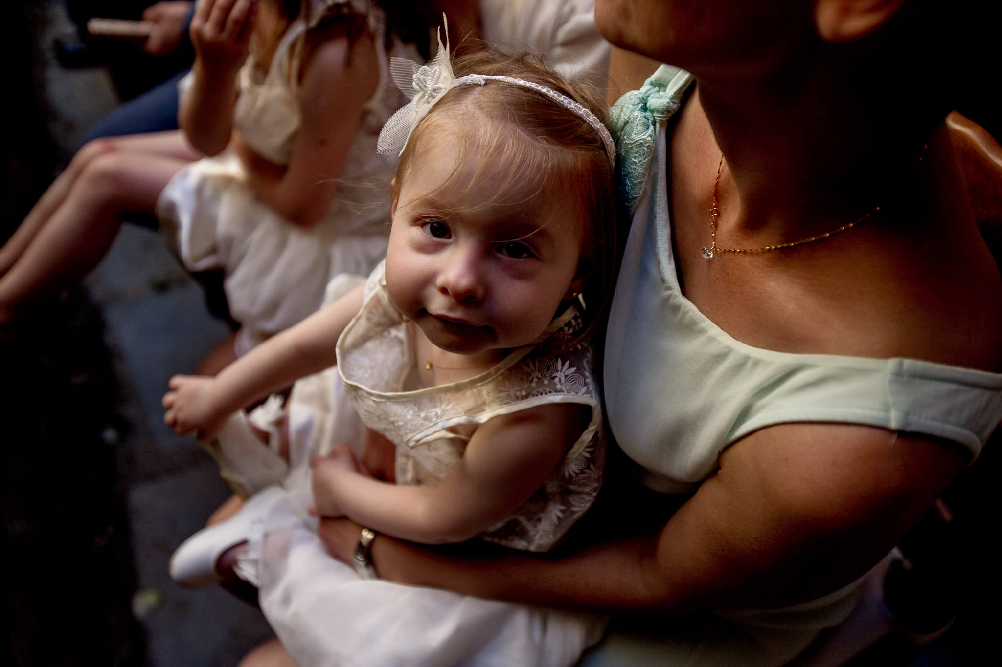 Beautiful french child in wedding ceremony in Cirque de Navacelles outside Montpellier France