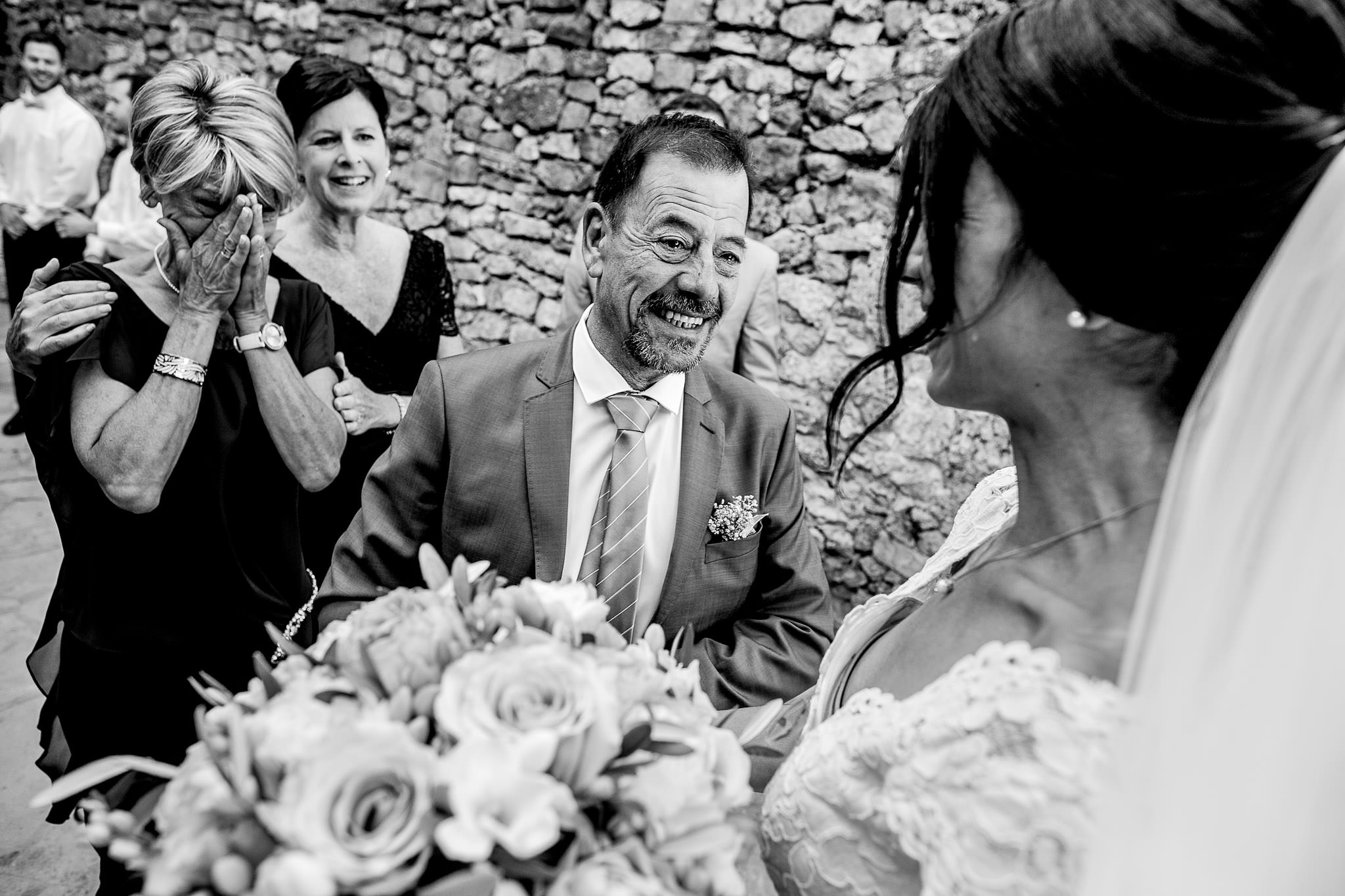 Emotional father of bride in Cirque de Navacelles outside Montpellier France