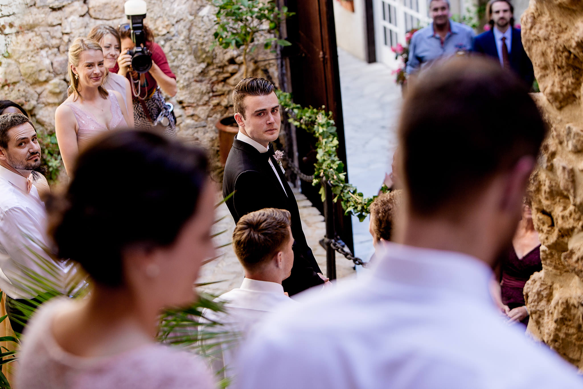 Emotional Groom during wedding ceremony at Chateau Zen near Montpellier
