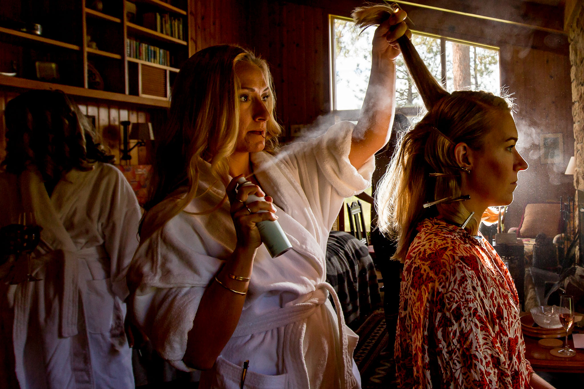 Bride getting ready with hair at House on Metolious In Sisters Oregon