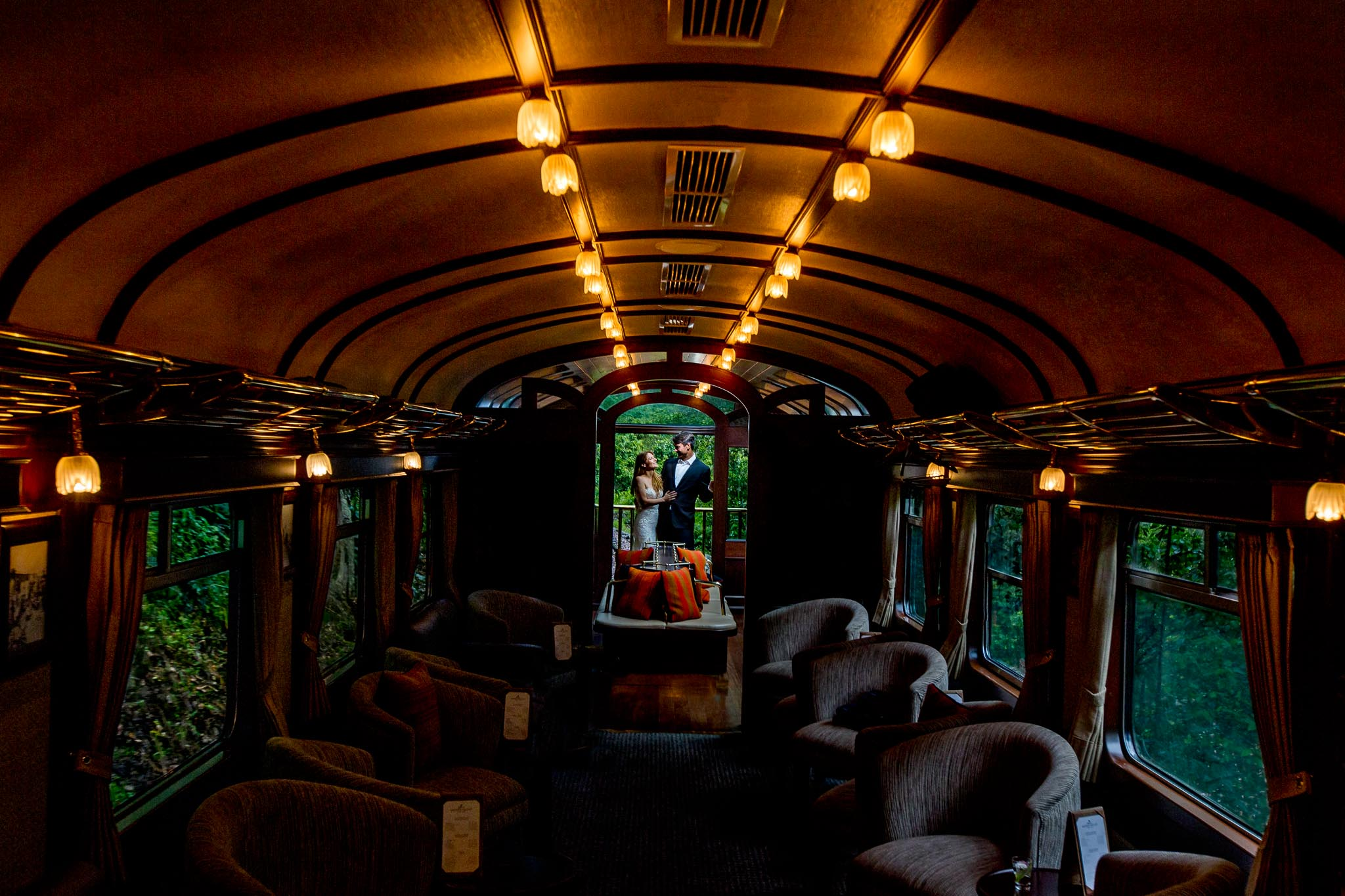 Peru Wedding on train to Macchu Pichu