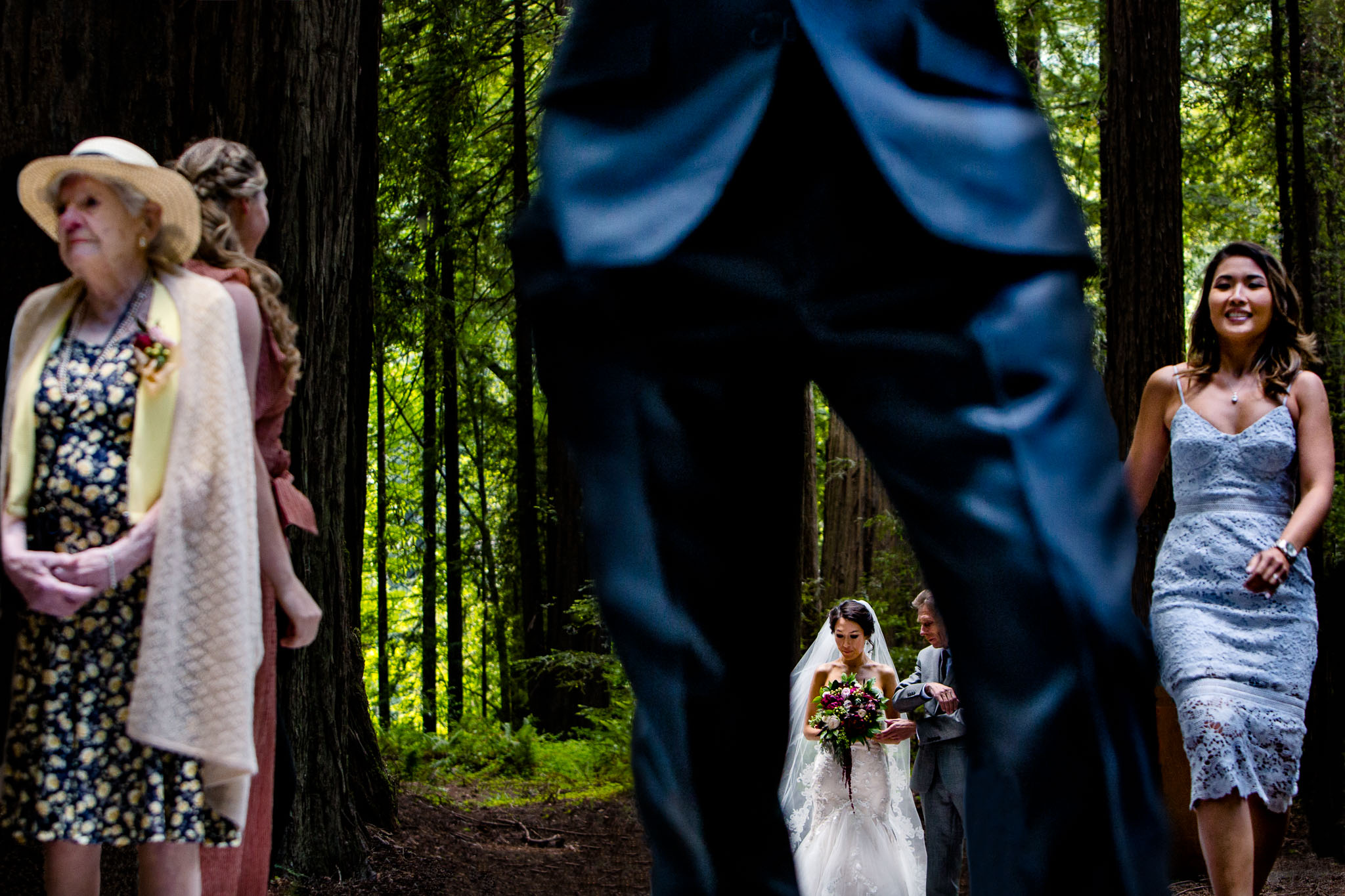Bride waiting with father before entering ceremony in Avenue of the Giants - award winning wedding photo by JOS studios