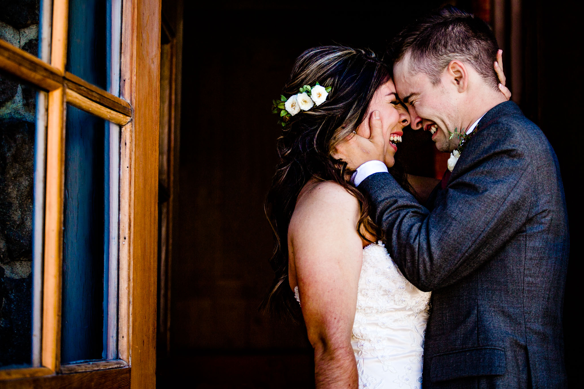 Bride and Groom crying together at Timberline Lodge JOS studios