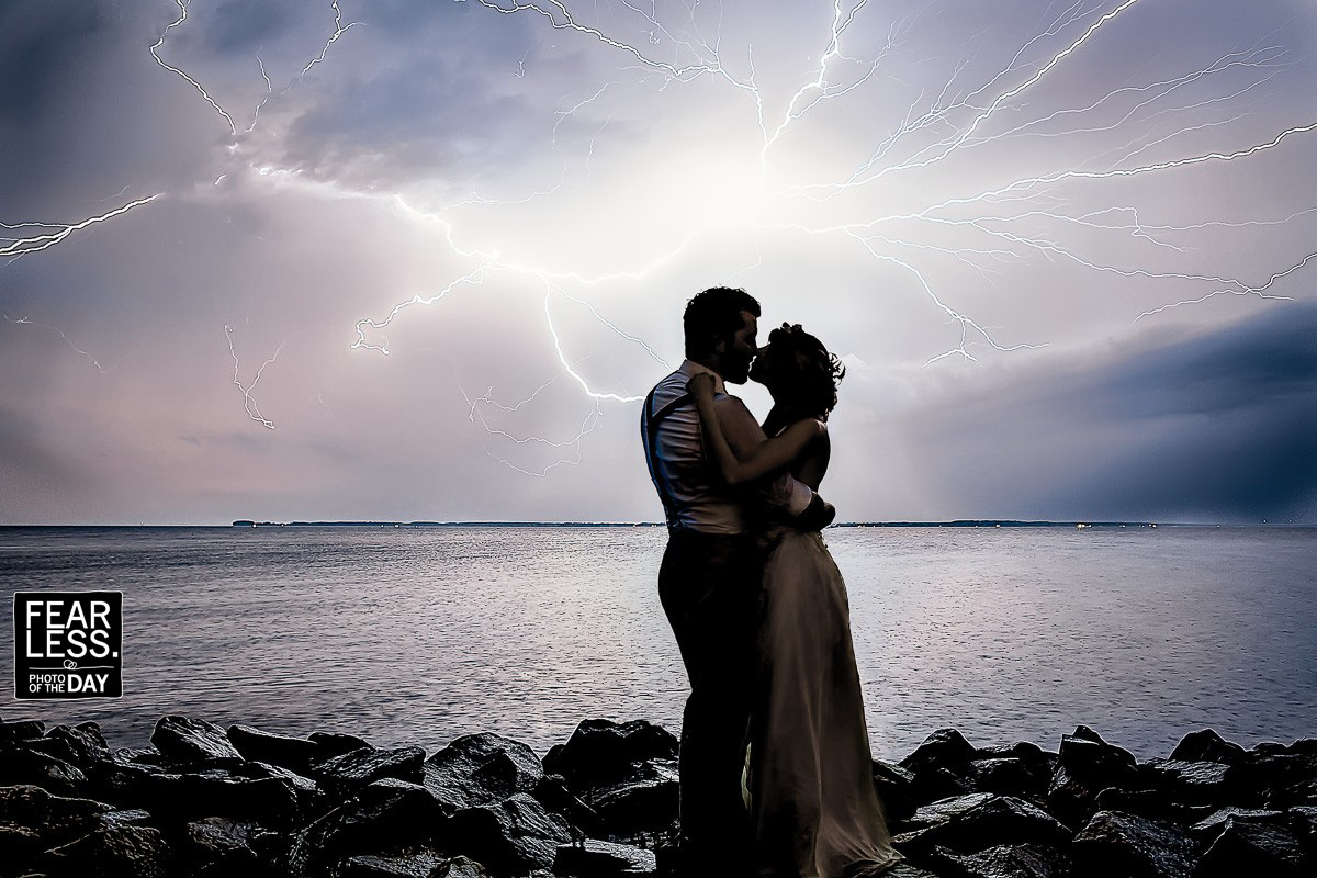 Lightning Photo of Bride and Groom Fearless Photo of the Day