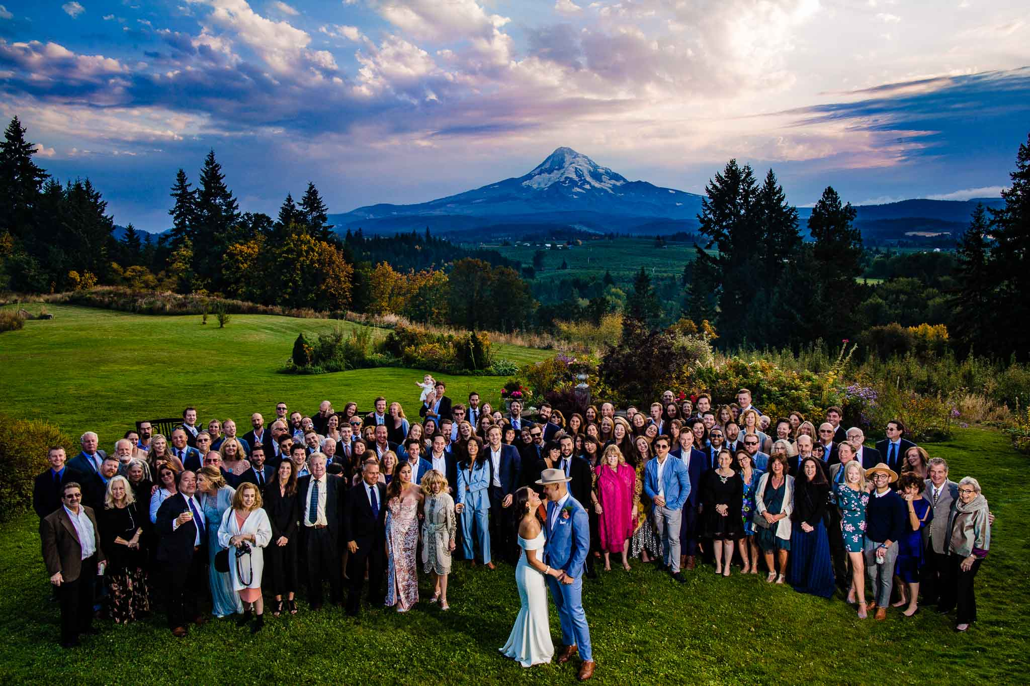 Mt Hood Organic Farms Wedding infront of Mt Hood