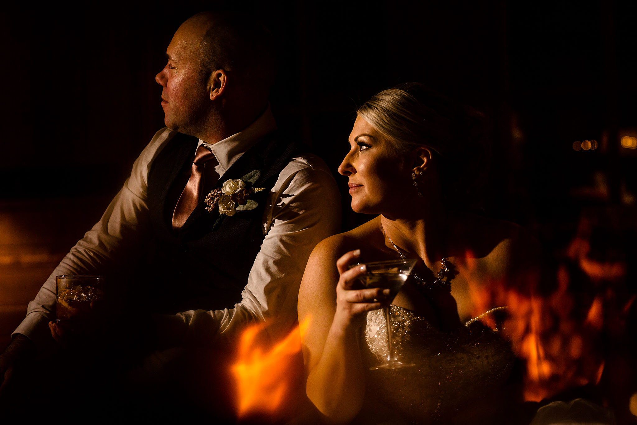 Bride and Groom near fire at Timberline Lodge JOS studios
