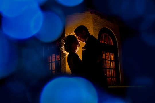 Intimate bride and groom night shot at Columbia Gorge Hotel by JOS studios