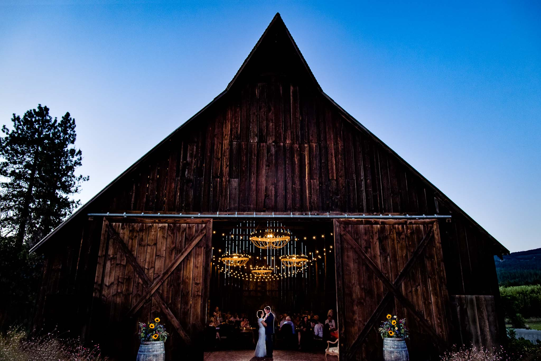 First dance with lovely backlight at Tin Roof Barn in Washington