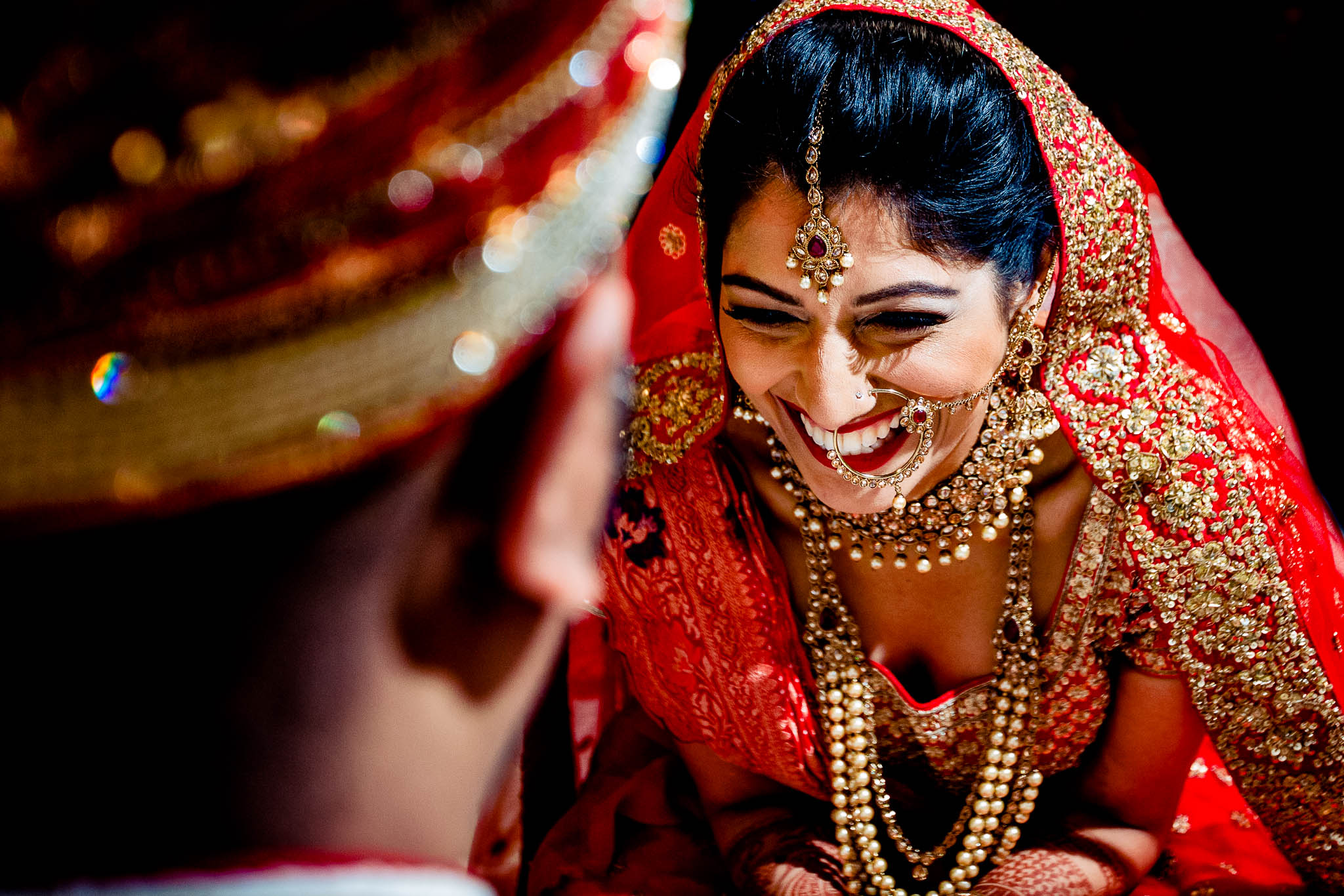 Indian Bride with Big Smile during ceremony at Portland Art Museum