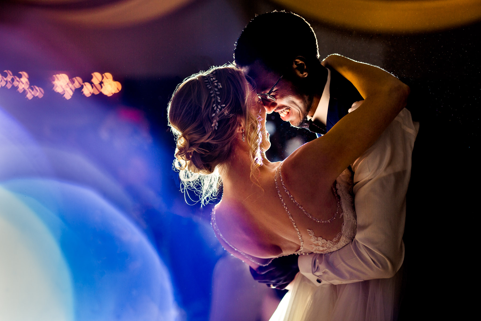 Timberline Wedding Bride and Groom first dance with beautiful light